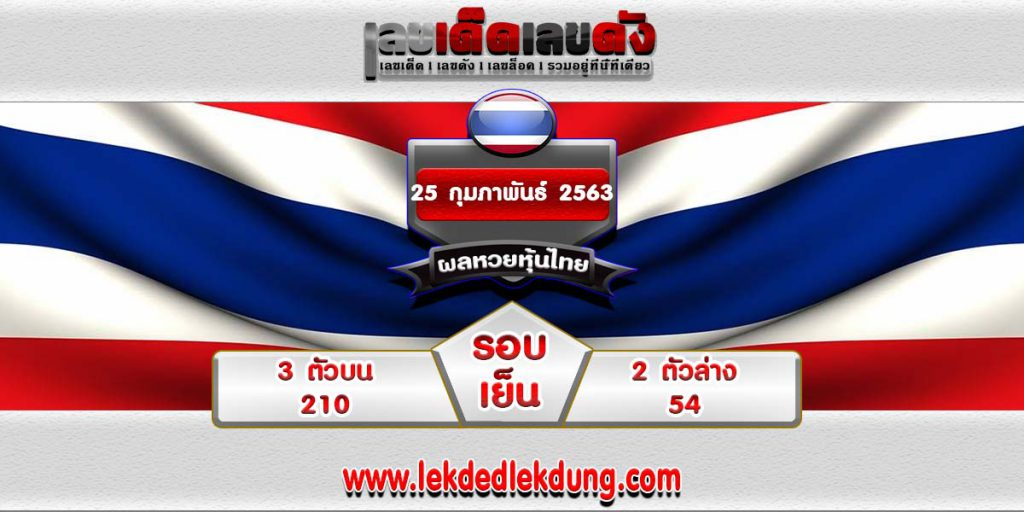 Check Thai stock market lottery results 25/02/63 Alt
