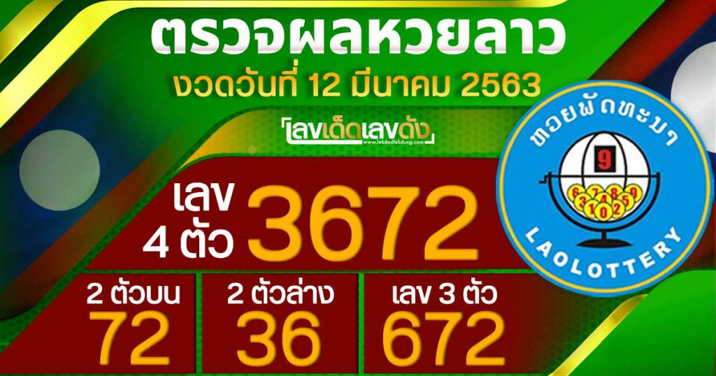 Laos lottery results 12/3/63 Alt