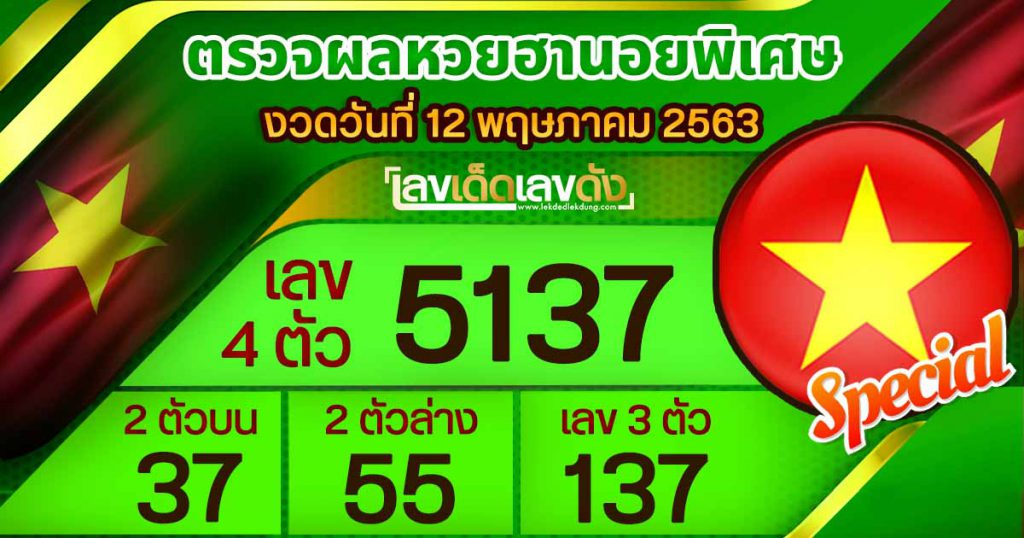 Hanoi Lottery Results (Special) Today 12/05/63