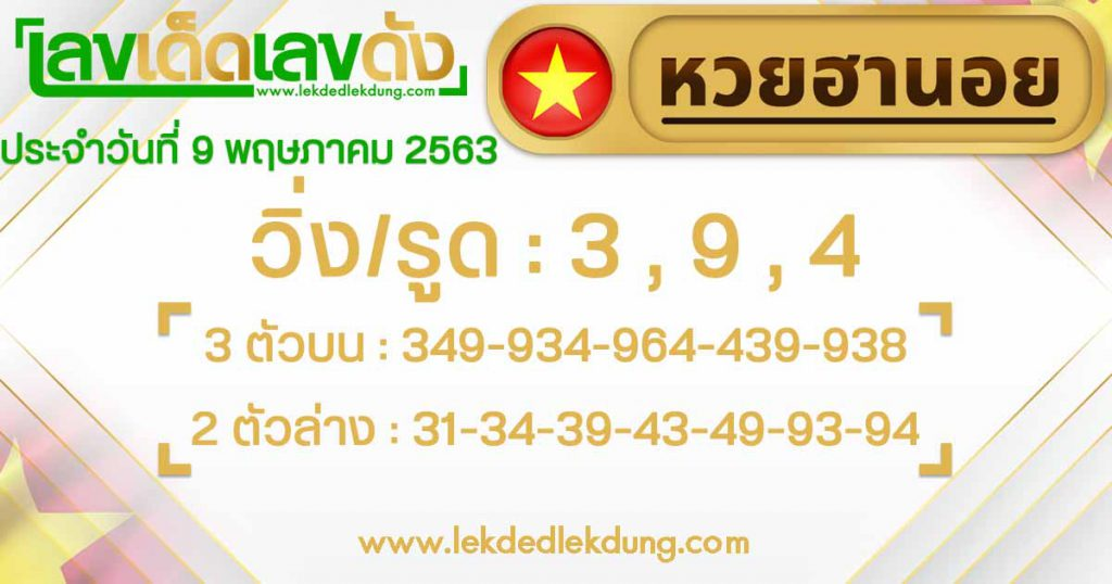 Hanoi lottery lucky number guidelines today 9/5/63