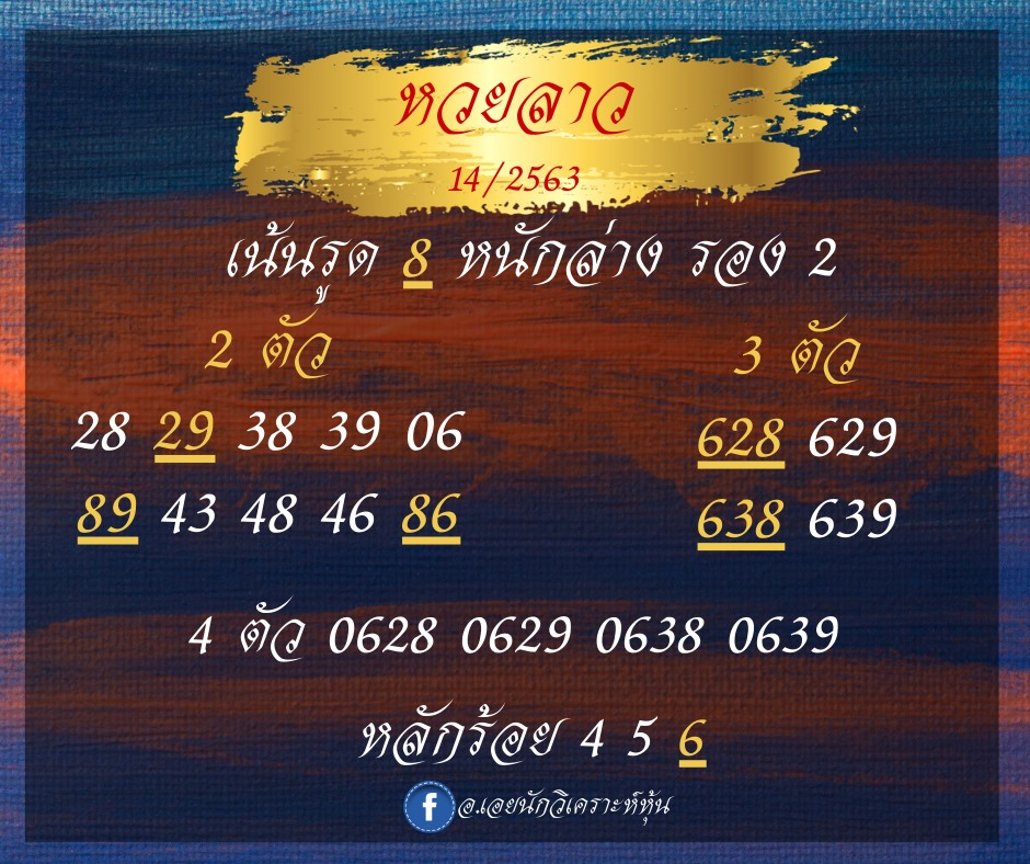 laos lucky numbers 14/5/63
