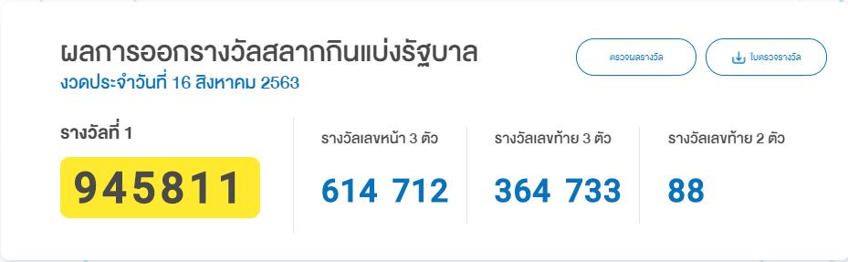 ผลหวยรัฐบาลไทย งวดล่าสุด