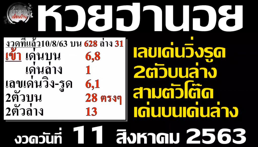 แนวทางหวยฮานอย 11/8/63