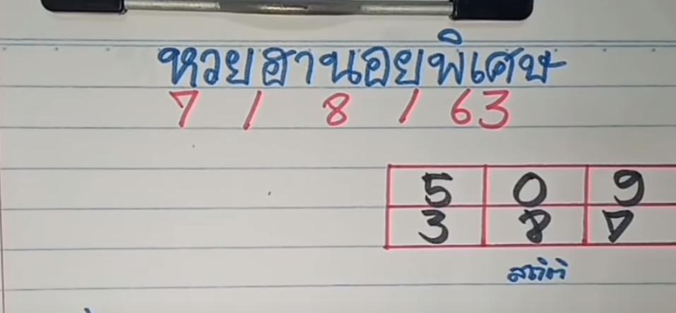 แนวทางหวยฮานอยพิเศษ 7/8/63